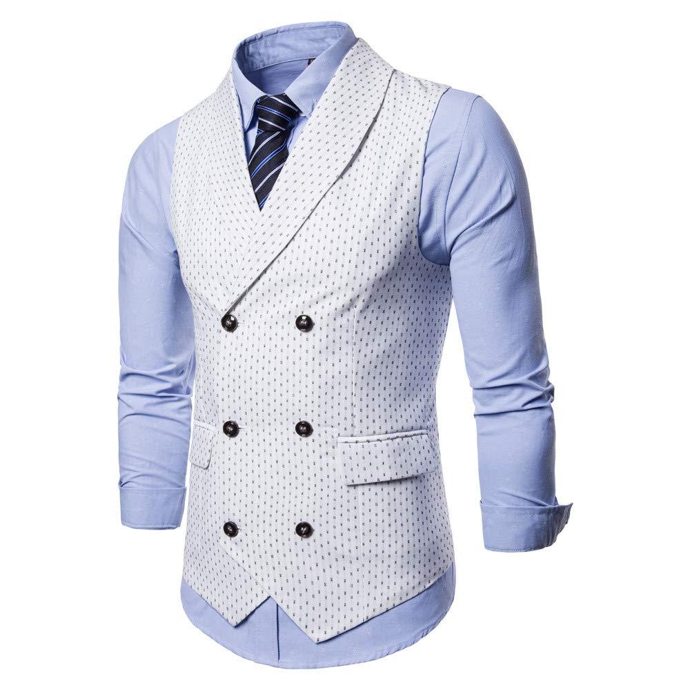 1200b78c8c8e8 ... MODOQO Mens Lapel Business Suit Vest Double-Breasted Casual Waistcoat  Top ...