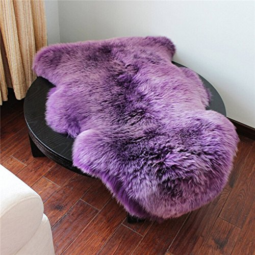 Soft Hairy Carpet Sheepskin Chair Cover Seat Pad Plain Skin Fur Plain Fluffy Area Rugs Washable Bedroom Faux Mat :color purple