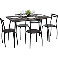 Coavas Brown Dining Table Set U0026 Set Of 4 Eames Fabric Dining Chairs