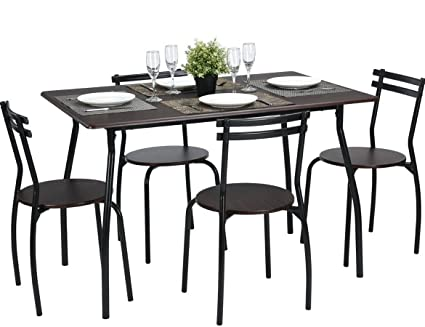 Incroyable Coavas 5pcs Dining Table Set Kitchen Furniture Kitchen Table Rectangle  Dining Table With 4 Round Dining