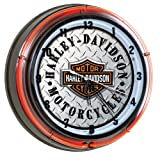 Harley-Davidson® Bar & Shield Diamond Plate Reloj de neón