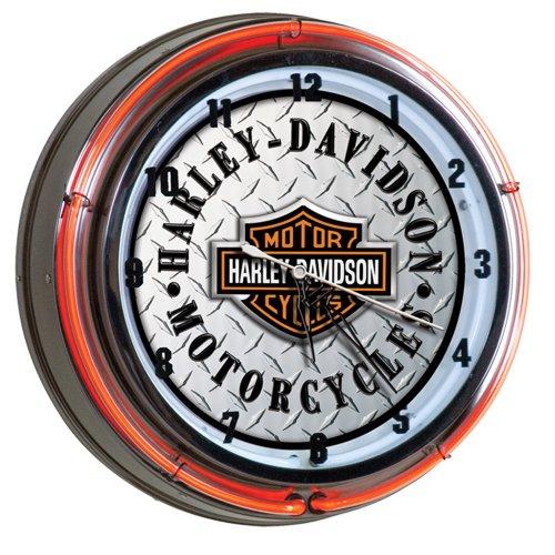 Harley-Davidson Bar & Shield Diamond Plate Neon Clock (Neon Shield Wall)