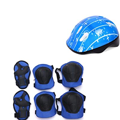 Yooha 7Pcs Kids Bike Helmet and Pads Set, Kids Protective Gear Set Adjustable Safety Helmet Knee Pads Elbow Pads Wrist Guards Set for Skateboard Roller Skating Cycling (Blue): Home & Kitchen