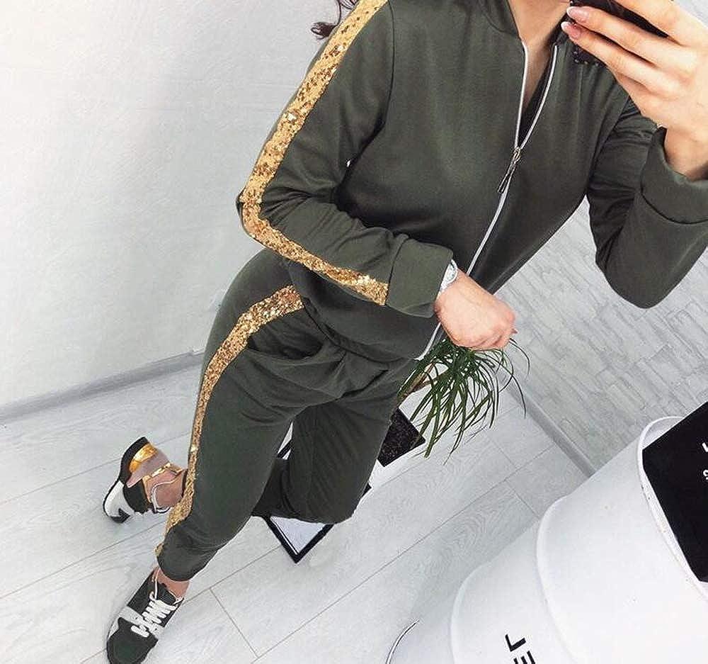 Hellomiko Damen Trainingsanzug Ganzk/örper-Sets Farblich passender Jogging-Freizeitanzug mit Kapuze und Rei/ßverschluss