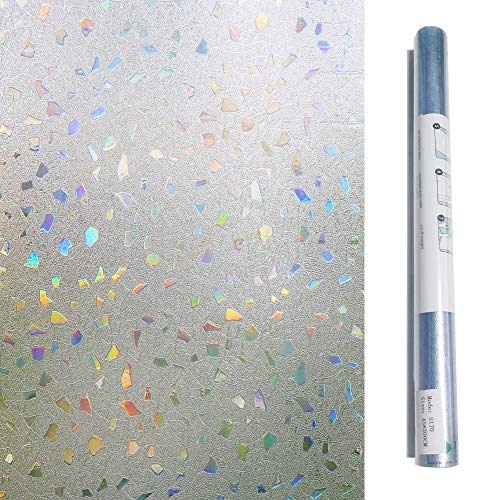 Bloss 3D Non Adhesive Static Cling Film Stained Glass Window Film Privacy Widnow Cling Cut Glass Decorative Film (17.7