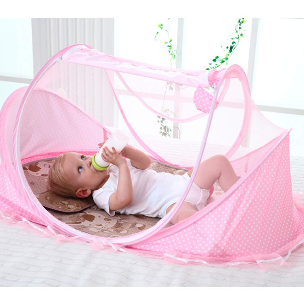 QETU Zippered Baby Mosquito Net Bed, Portable Baby Travel Bed, Newborn Foldable Tent Crib,D