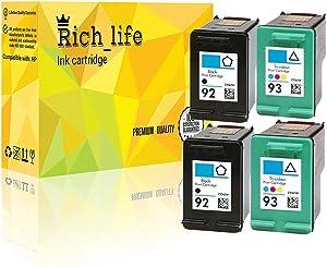 Rich_life Remanufactured Ink Cartridge Replacement for HP92 HP 92 Black HP93 HP 93 Color Inkjet Cartridges Compatible HP Printer PSC Deskjet Photosmart 4 Pack (2 Black, 2 Color)