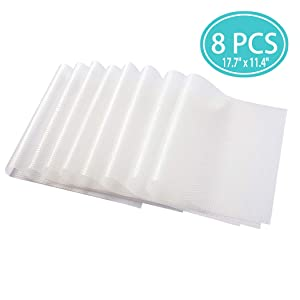 Refrigerator Liner Mats Washable Non-Slip 8 PCS – Clear Pre-Cut 17.7 by 11.4 inch EVA Shelf Liners Waterproof Can Be Cut Fridge Pads(Transparent Placemats)