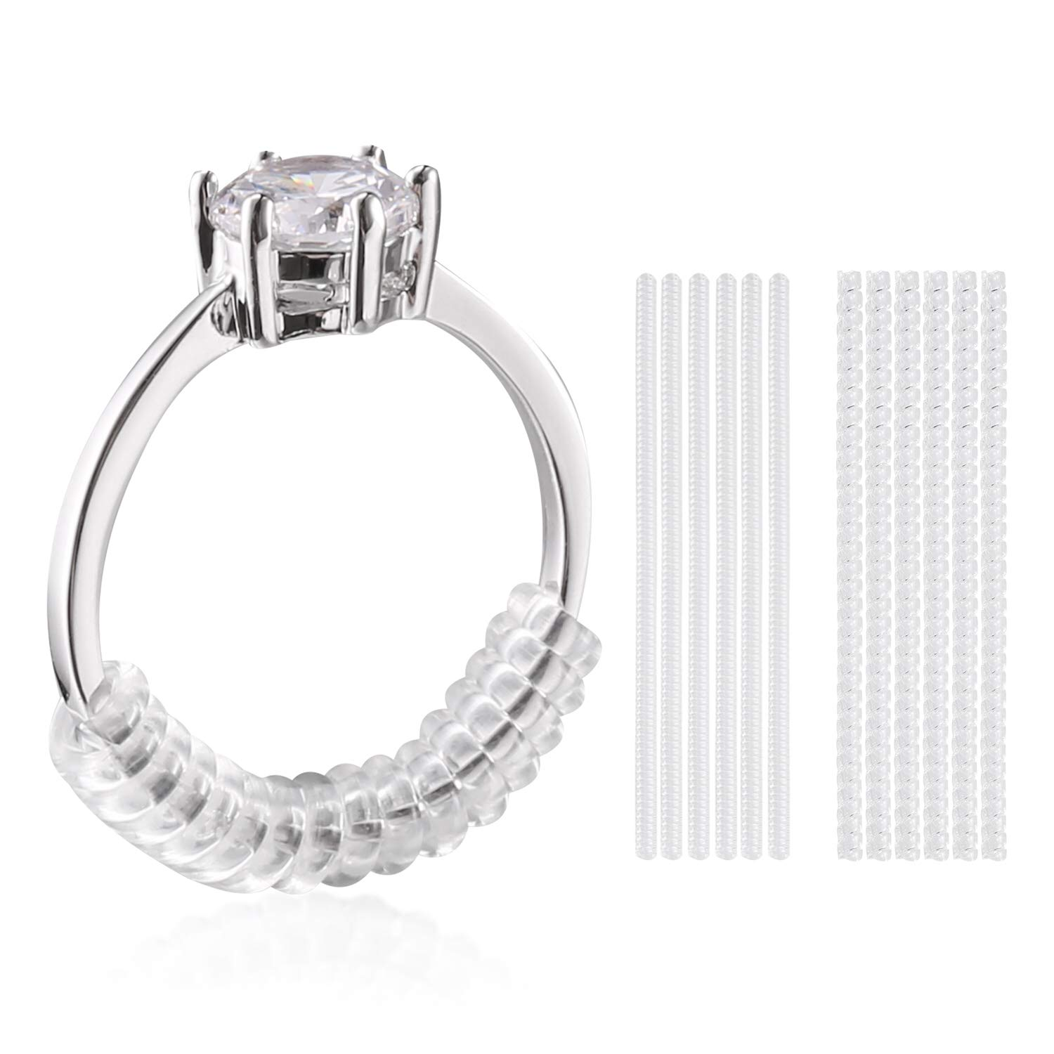 Ring Size Adjuster for Loose Rings, Ring Guard with Sliver Polishing Cloth, Set of 12, 2 Sizes (2mm/3mm)   LOHOTEK