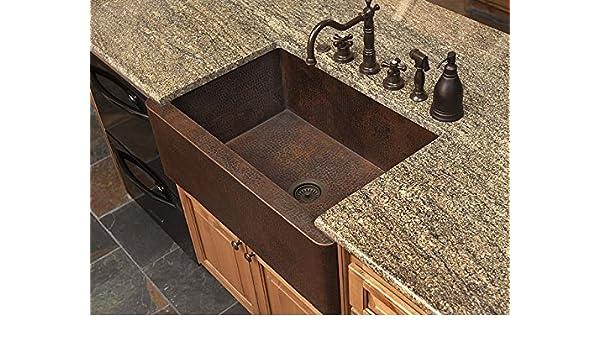 30 Small Fernanda Single Well Copper Farmhouse Sink Amazon Com