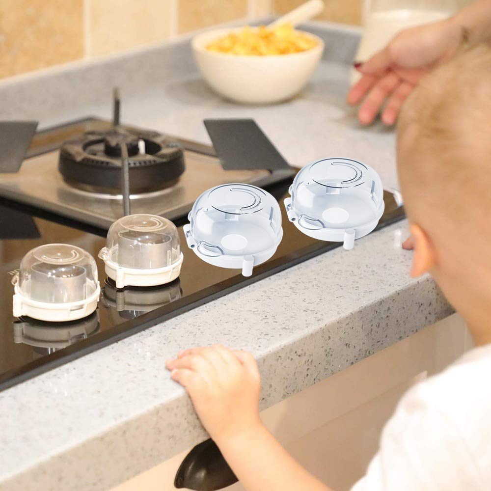 Kids 4pcs Stove Knob Covers Gas Shield Protection Locks for Children Safe Baby Proof Large Universal Design Guard Kitchen Cooker Oven Knob Cover Switch Toddler Control Guard Kitchen Protect