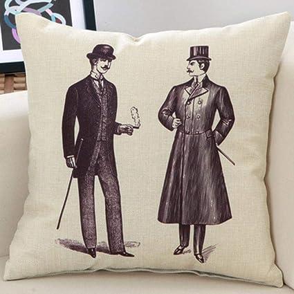 Amazon.com: Retro Cushion Cover Decorative Pillowcase Throw ...