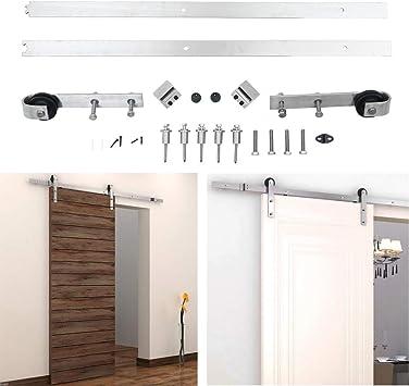 Cozime Kit de puerta corredera fácil de instalar con riel deslizante de acero para puertas de granero, hardware de acero al carbono, kit de riel para puerta individual: Amazon.es: Bricolaje y herramientas
