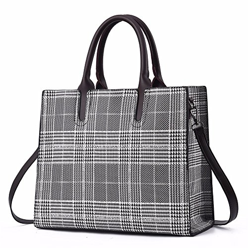 Main à Contemporain Cuir Messenger Sacs Tout Fourre Lattices Simple Sacs bandoulière Red and à BMKWSG Black White à Sacs White Sacs and Femmes pour Femme PU Lattices Mode Main xwqan70XRE