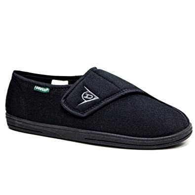 7bb1bec5d7fce DUNLOP MENS WASHABLE HOOK AND LOOP SLIPPERS NAVY SIZE UK 7-12 NEW:  Amazon.co.uk: Shoes & Bags