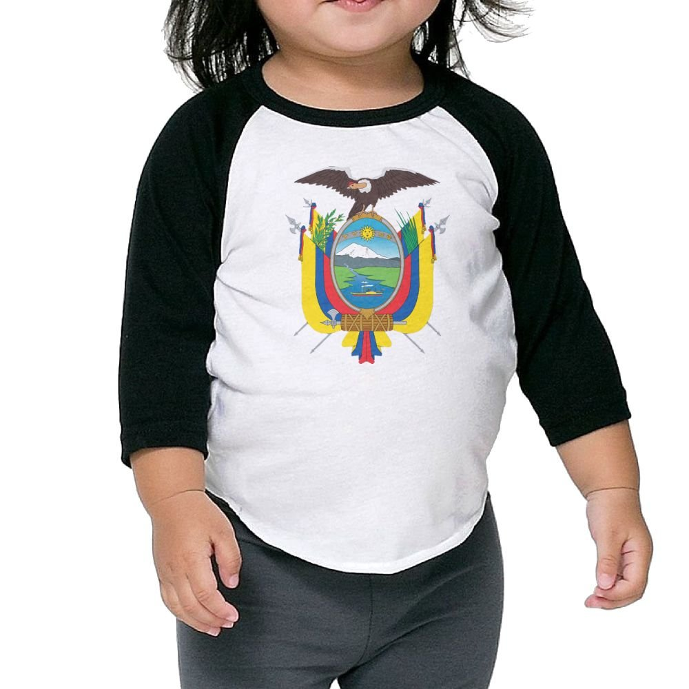 Coat of Arms Ecuador Kids Raglan T Shirts Baseball 3//4 Sleeves for Boys Girls