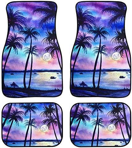 Coloranimal Decorative Sunset on The Beach Tropical Palm Tree Printed Floor Mat for Cars,Trucks,Vehicle Decor Car Carpets Rubber Backing Hawaiian Stylish Interior Auto Protector 4-Piece