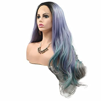 Amazon Com Cosplay Long Colorful Hair Lace Front Wigs Dark Roots