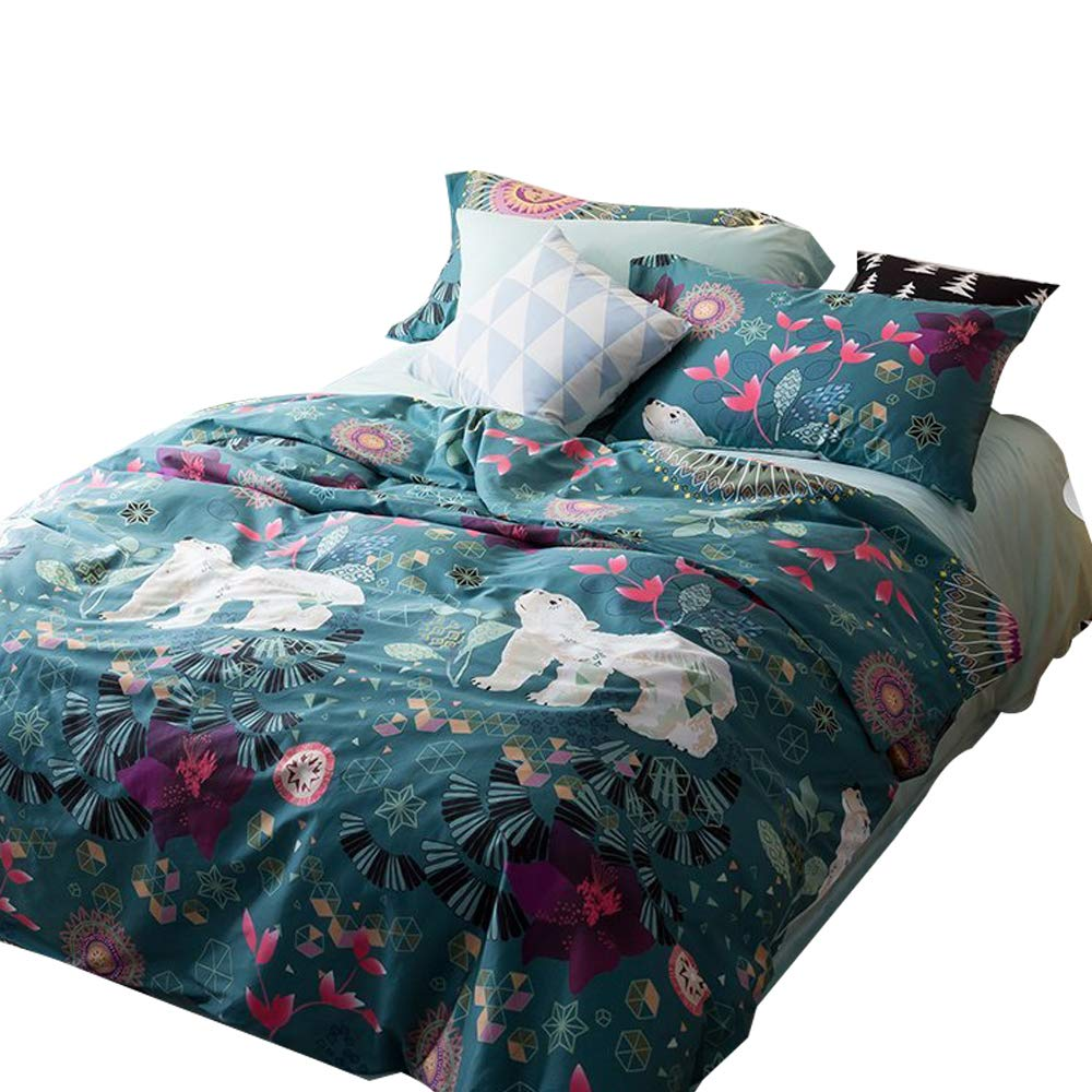 EnjoyBridal Floral Animals Bear Bedding Duvet Cover Sets Kids Queen Cotton Blue Teens Boys Girls Bedding Cover Sets 3 Pieces Reversible Use Comforter Cover(StyleA, Queen) by EnjoyBridal (Image #1)