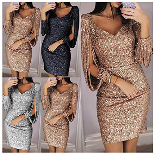 Women's Sequin Cocktail Dress Sexy Bodycon Mini Dress Evening Party Clubwear