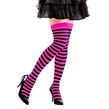 bester Wert begrenzter Stil Großbritannien Stockings Ringlet Striped Overknee Socks Pink / Marigold Stripes ...