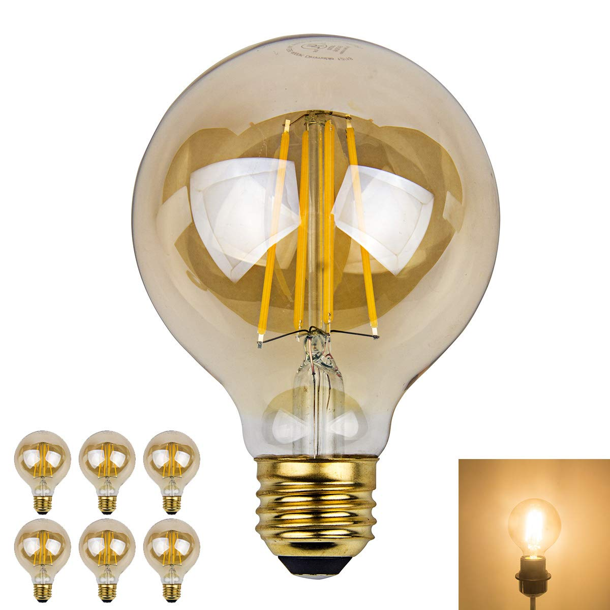70W Equivalent Dimmable Edison Led Globe Light Bulb G25 Daylight Nature White Bathroom Vanity Light Bulb 7W Daylight, 6 Pack E26 Base Pack of 6