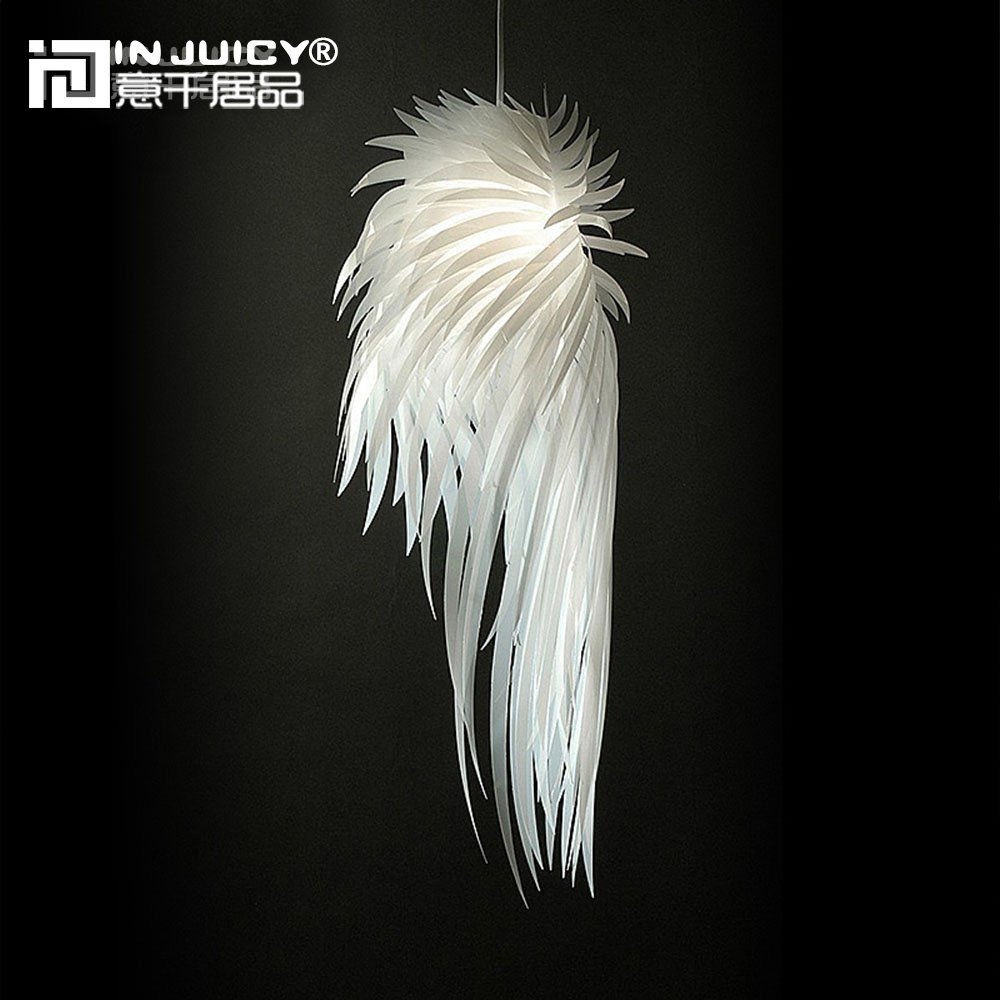 IJ INJUICY Angel Wing PP E27 Edison Feather Pendant Lamps Shades PVC Led Ceiling Pendant Lights Fixtures for Girl's Bedrooms Children's Living Rooms