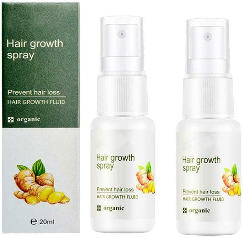 sohefia 2 Pcs Regrowth Ginger Spray 20ML - Hair Growth Dense Serum Oil Anti Loss Treatment Essence for Promote Hair Growth, Effectively Prevent Baldness