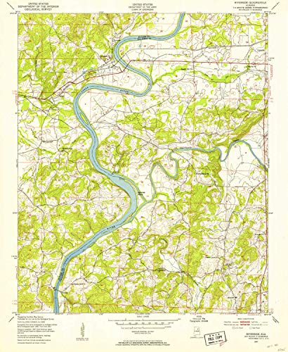 YellowMaps Riverside AL topo map, 1:24000 Scale, 7.5 X 7.5 Minute, Historical, 1947, Updated 1953, 26.7 x 21.9 in - Paper