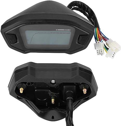 Keenso Universel DC 12V Moto Num/érique Color/é LCD Compteur De Vitesse Compteur De Vitesse W//Capteur De Vitesse