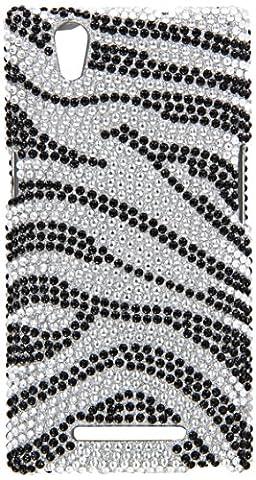 Eagle Cell ZTE Zmax Z970 Diamond Protector Case - Retail Packaging - Black/Silver Zebra - Diamond Protector Faceplate