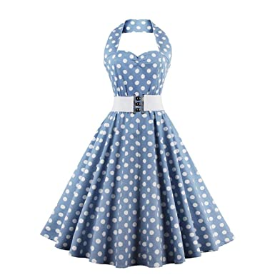 Women Swing Dress Cotton Sleeveless Halter Belts Prom Dress Plus Size