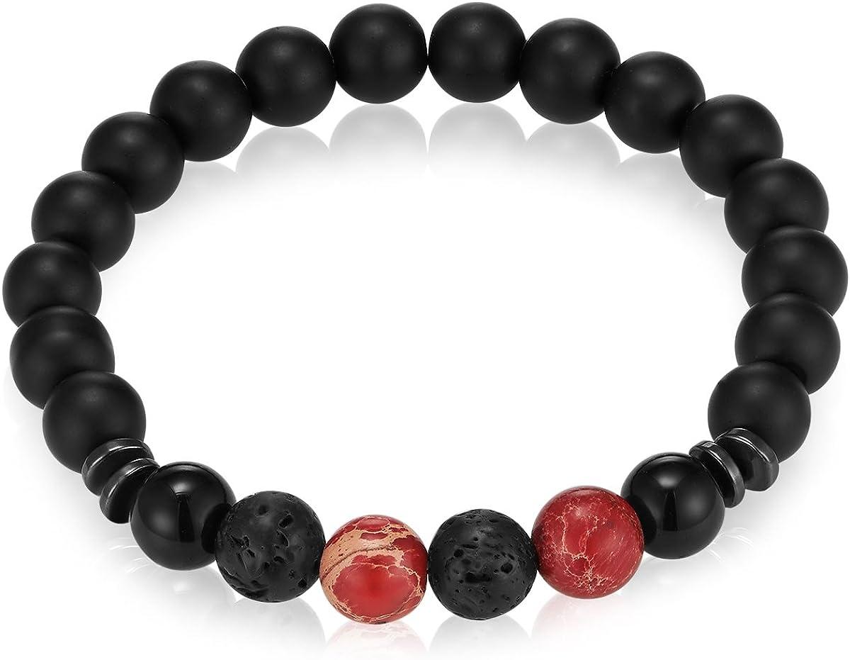 Gemdor – Pulsera para hombre y mujer, ónice negro, jaspe rojo, 16 – 21 cm – Pulsera de perlas de piedras preciosas, joyas de energía