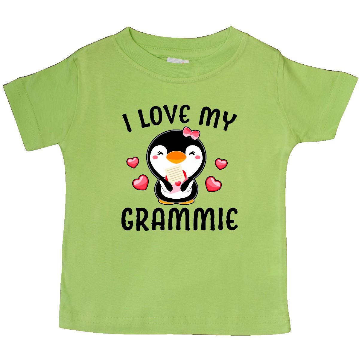 inktastic I Love My Grammie with Cute Penguin and Hearts Baby T-Shirt