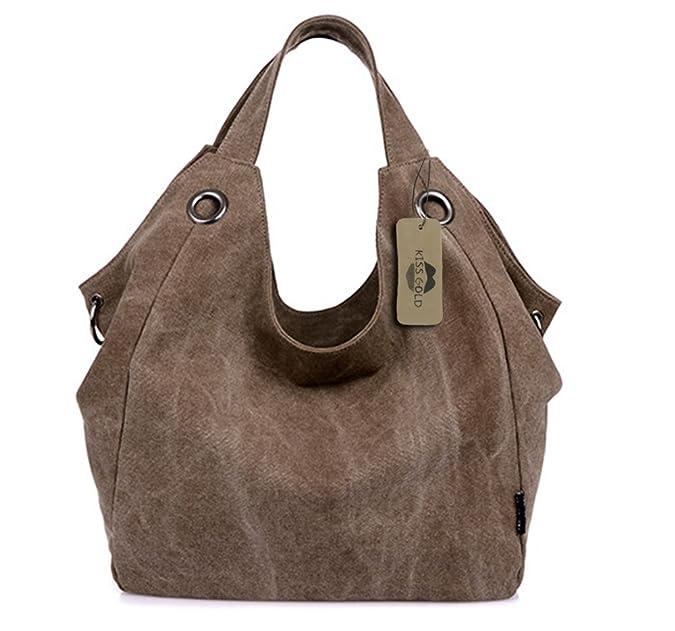 KISS GOLD(TM) Bolso de Bandolera Bolso de Totes Hobo de Lona Vintage Estilo Simple Mujer(Cáfe Claro): Amazon.es: Zapatos y complementos