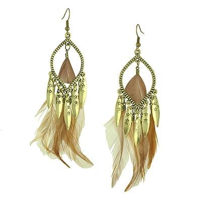 Gothic Exotic Women Girls Earrings - Pear Shaped Alloy Feather Long Drop Earrings bFn0MR5LRp