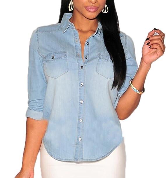 Camisas de la Vendimia de la Moda de la Mujer Camisas de Mezclilla de Manga Larga Vaqueros Lavados Slim Body Jersey Azul Claro Azul Oscuro: Amazon.es: Ropa y accesorios
