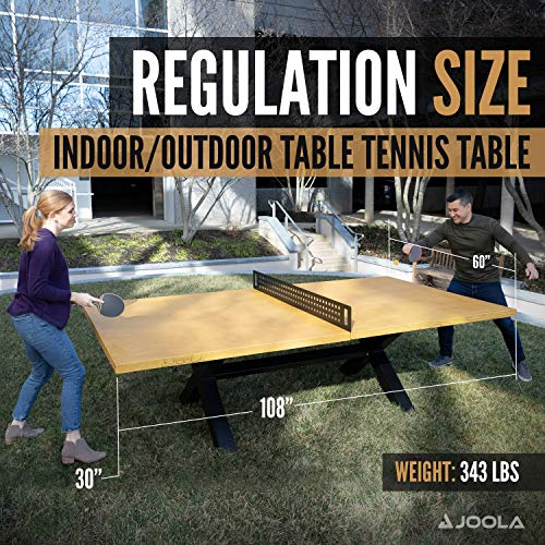 JOOLA Berkshire Outdoor Table Tennis Table - Multi Use Conference Table Dining Table - Concrete Oak Wood Look Includes Steel Outdoor Ping Pong Net Set & Frame - Hybrid Indoor Outdoor Ping Pong Table