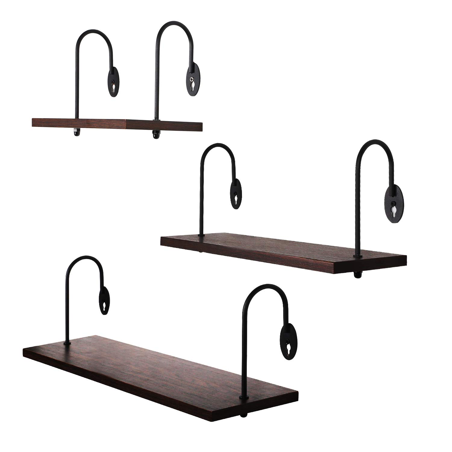 O-KIS Floating Shelves Wall Mounted, Set of 3 Rustic Wood Wall Shelves with Large Storage for Bedroom Bathroom Living Room Kitchen Office (Walnut Brown)