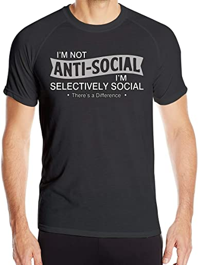 Casual para Hombre No Soy Antisocial Estoy Blusas de poliéster de Manga Corta selectivamente: Amazon.es: Ropa y accesorios