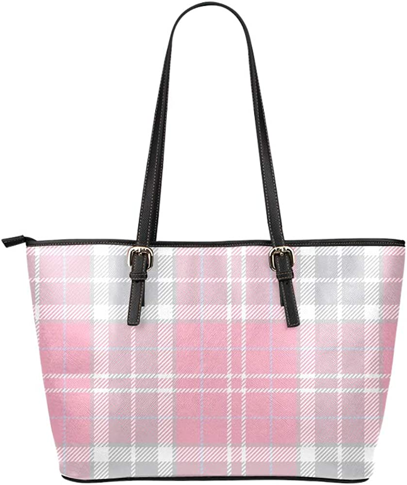 Large Tote Bag Girlspink Lattices Leather Hand Totes Bag Causal Handbags Zipped Shoulder Organizer For Lady Girls Womens Tote Luggage