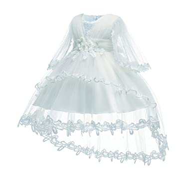 5f33c4a446b1a HX Baby Girls Princess Lace Gauze Flower Cape Party Evening Christening  Trailing Dresses for 6-