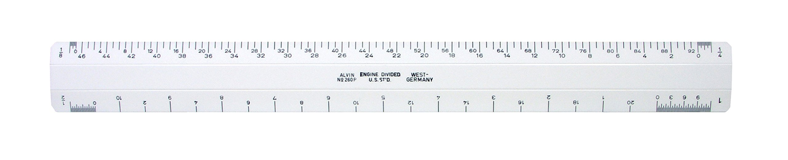 Alvin 260P 12'' White Plastic Flat Architect Scale by Alvin