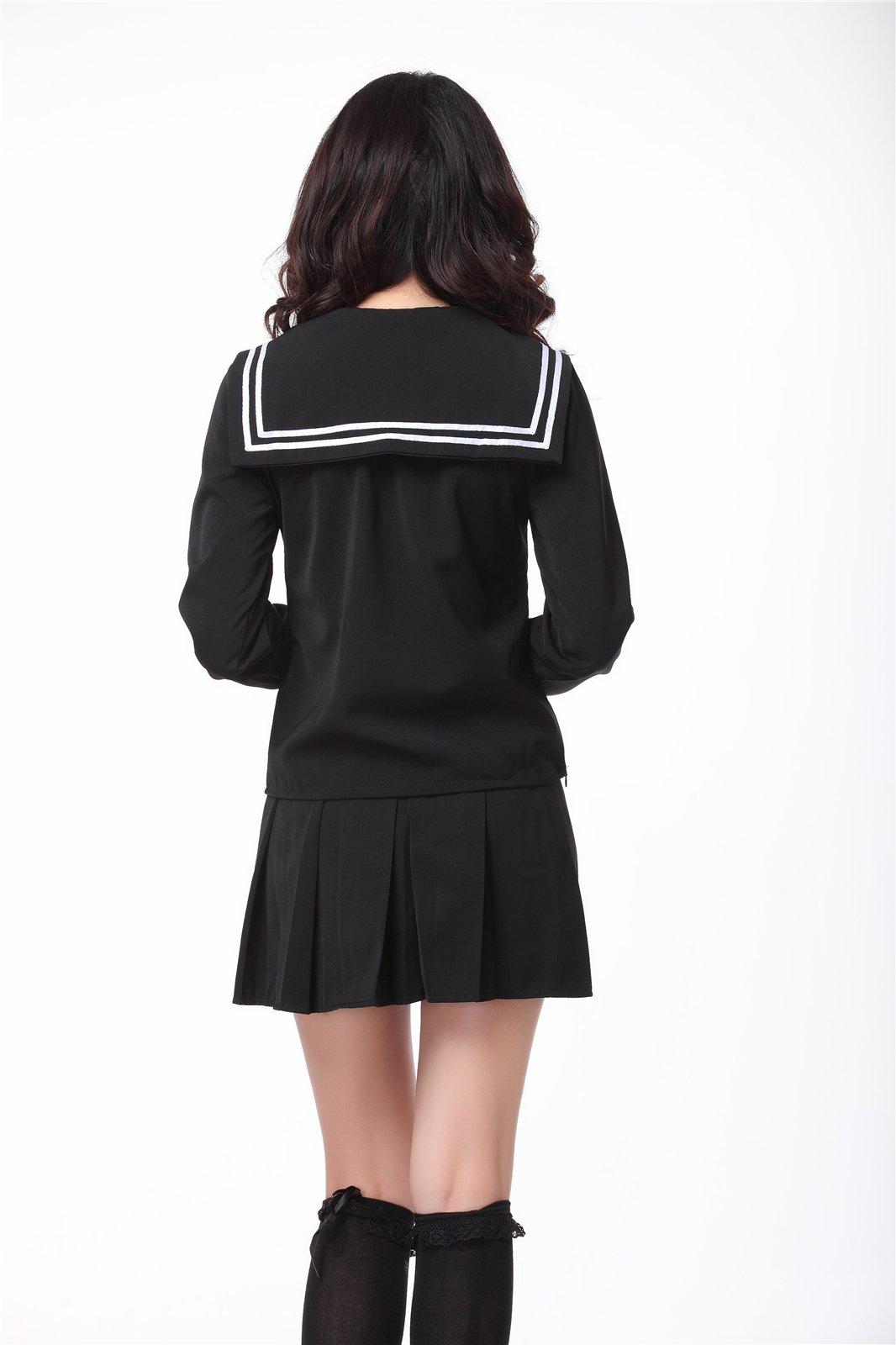 ROLECOS Womens Sailor School Uniform Dress Black L GC13A by ROLECOS (Image #3)