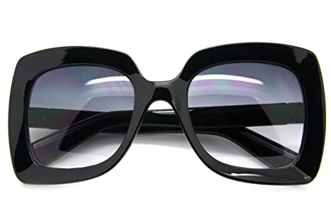 ff3458e728c Image Unavailable. Image not available for. Color  Black Large Oversized  Square Sunglasses Gradient Lens Thick Retro Frame Women Fashion