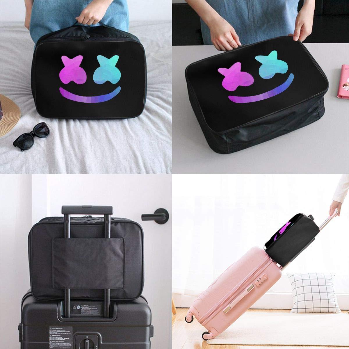 Fretlo Marshmellow-Mask-Blue-Violet Travel Duffel Bag Waterproof Lightweight Large Capacity Portable Luggage Bag Black