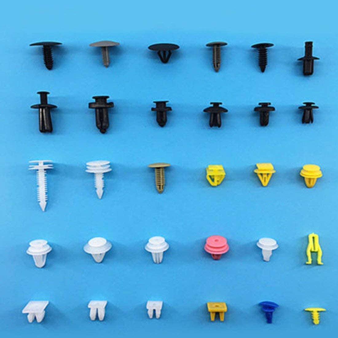 Universal Auto Body Clips de moldura Clips de retenci/ón de empuje de pl/ástico Sujetadores de remache Kit de surtido de clips de retenci/ón de panel Color de mezcla