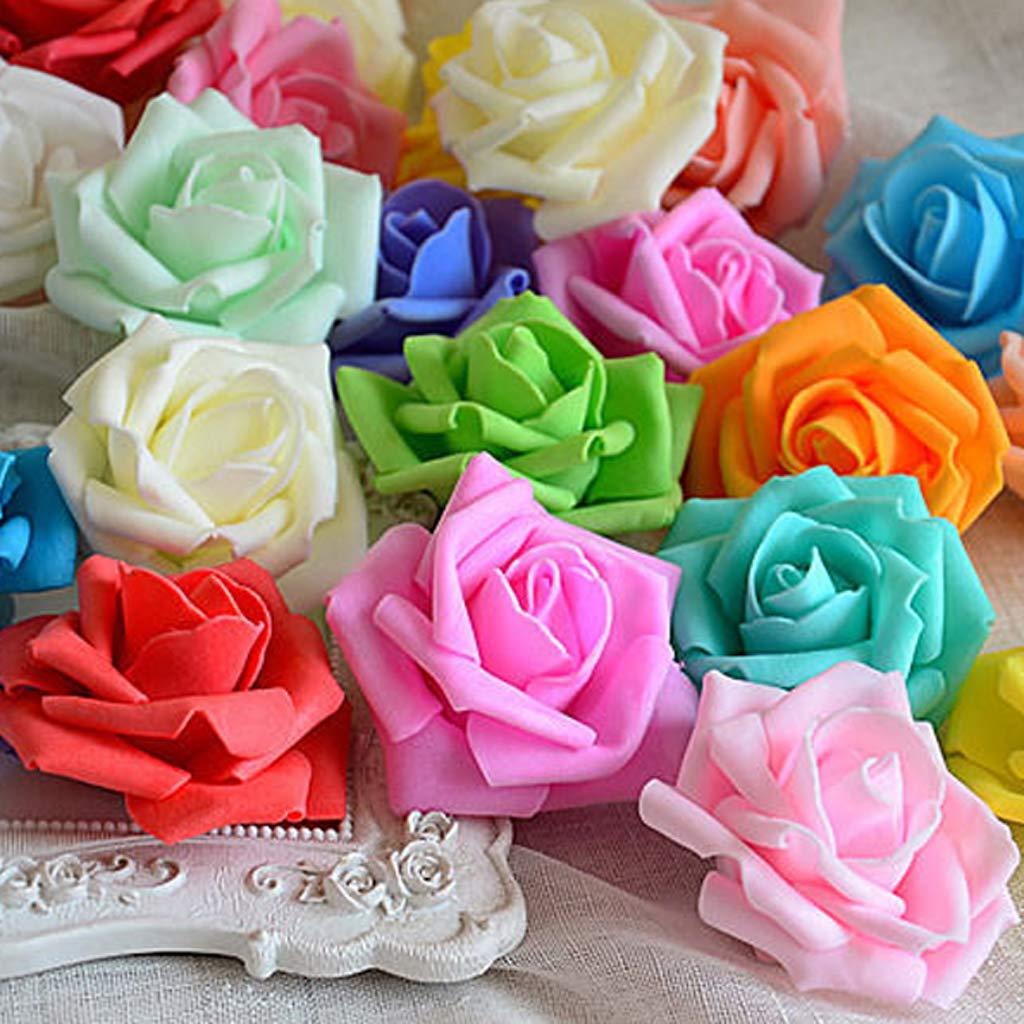 Blanc Snner Lot 50pcs Fleurs Mousse Rose Artificielle T/ête Mari/ée Bouquet D/écoration Mariage Partie 6-7cmx 3.5cm