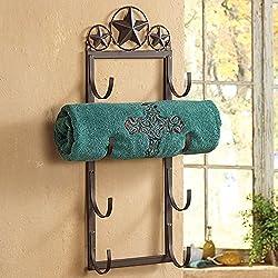 Lone Star Wall/Door Mount Rustic Towel Rack - Southwestern Bath Decor