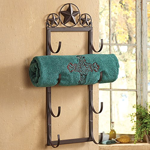 Lone Star Wall/Door Mount Rustic Towel Rack - Southwestern Bath Decor